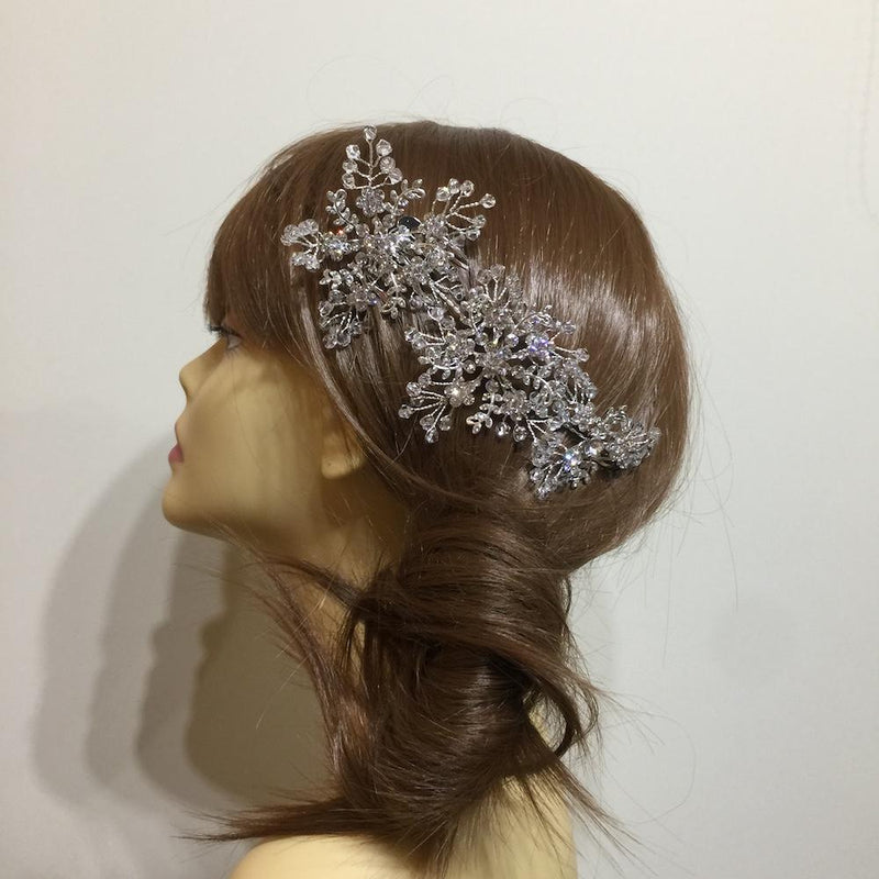 Frozen Crystal Snowflake Hair Comb-Hair Accessories-Bride Boutique