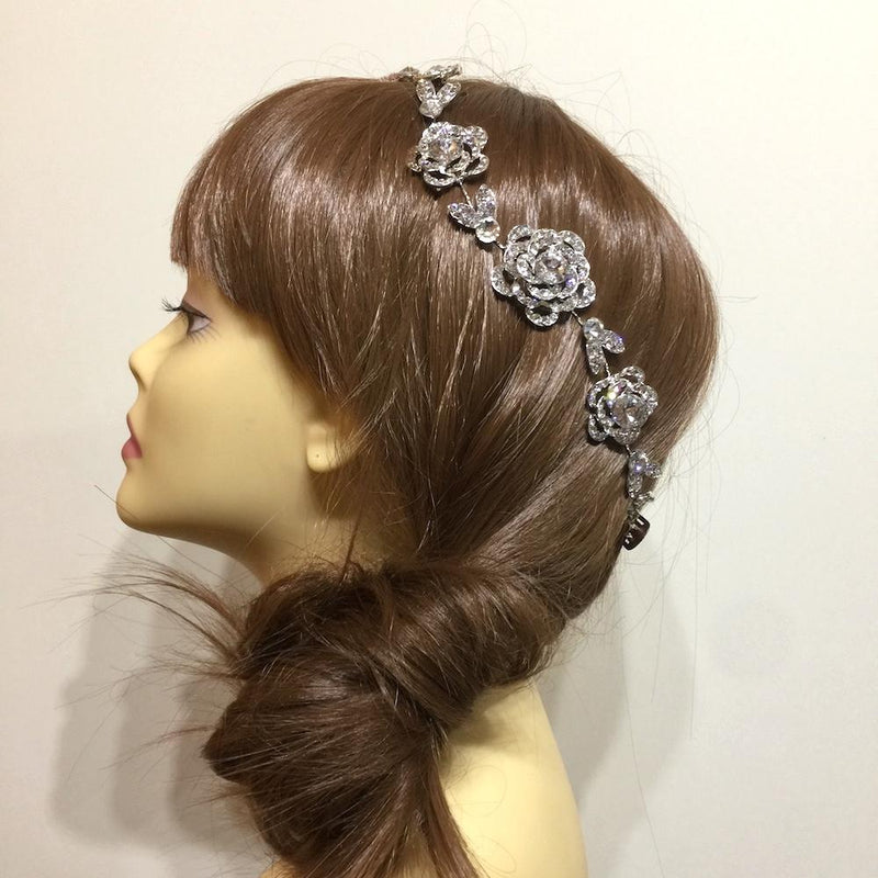 Silver Rose Crystal Hair Vine-Hair Accessories-Bride Boutique