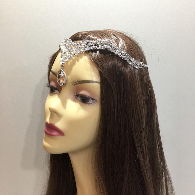 Silver Crystal Forehead Tiara Headpiece-Hair Accessories Bride Boutique