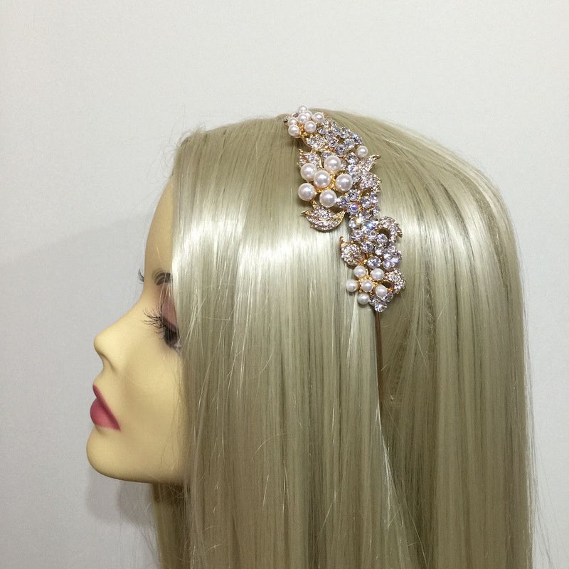 Crystal Grace Side Accent Headband - Gold-Hair Accessories-Bride Boutique