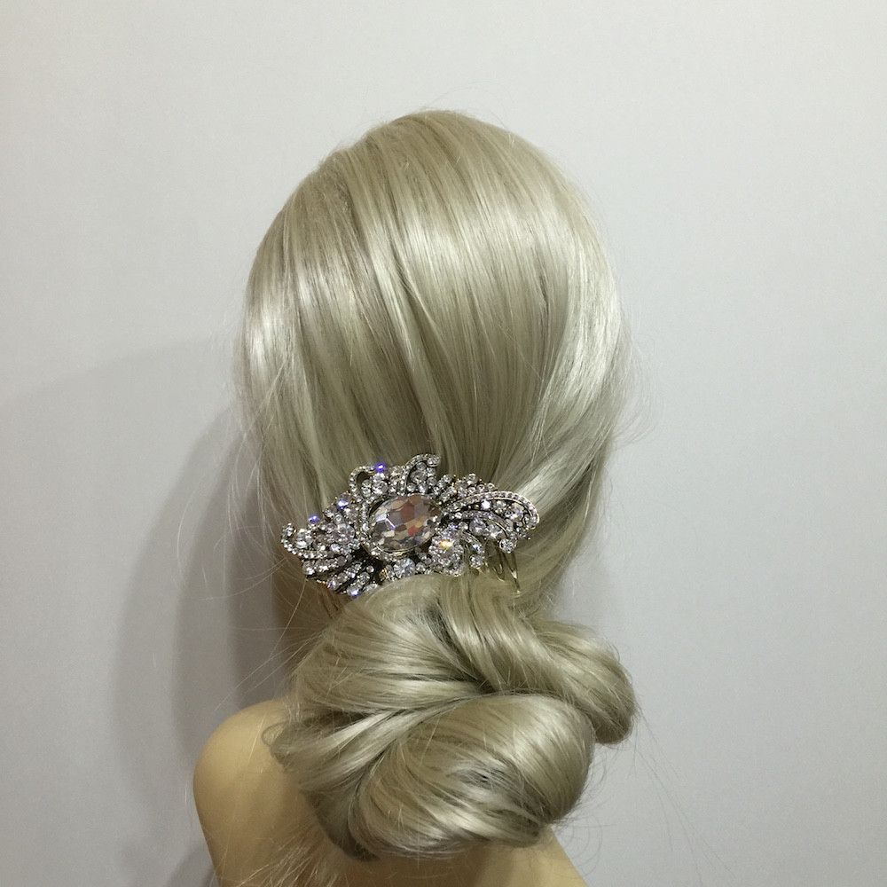 Vintage Crystal Hair Comb - Gold-Hair Accessories-Bride Boutique