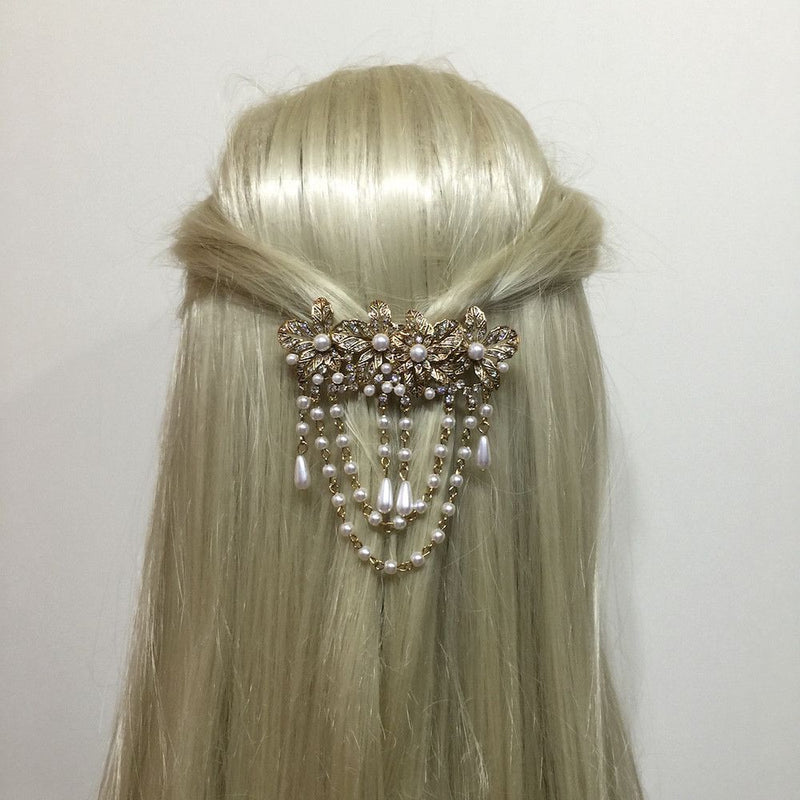 Vintage Pearl Drops Hair Clip - Gold-Hair Accessories Bride Boutique