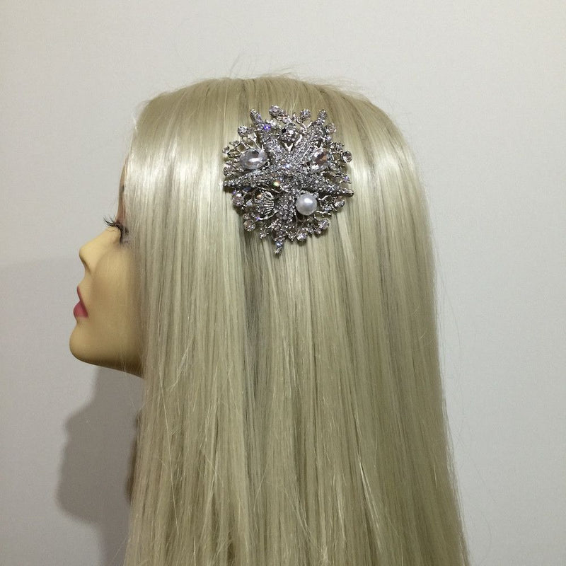 Diamanté Starfish Beach Wedding Hair Comb-Hair Accessories-Bride Boutique
