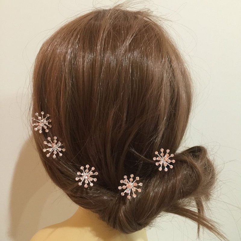 Crystal Starburst Hair Pins - Champagne-Hair Accessories Bride Boutique