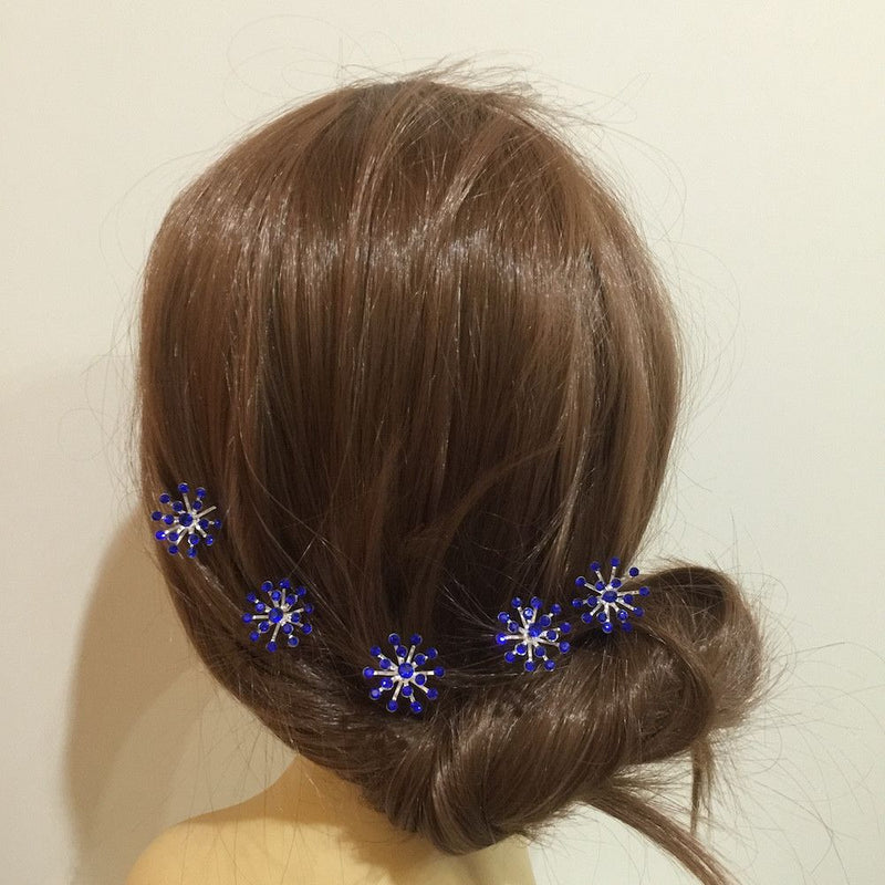 Crystal Starburst Hair Pins - Royal Blue-Hair Accessories-Bride Boutique