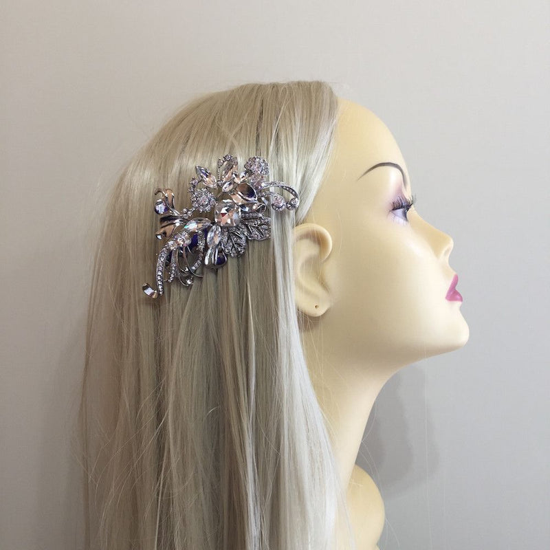 Elegance Silver Leaf Hair Comb-Hair Accessories-Bride Boutique