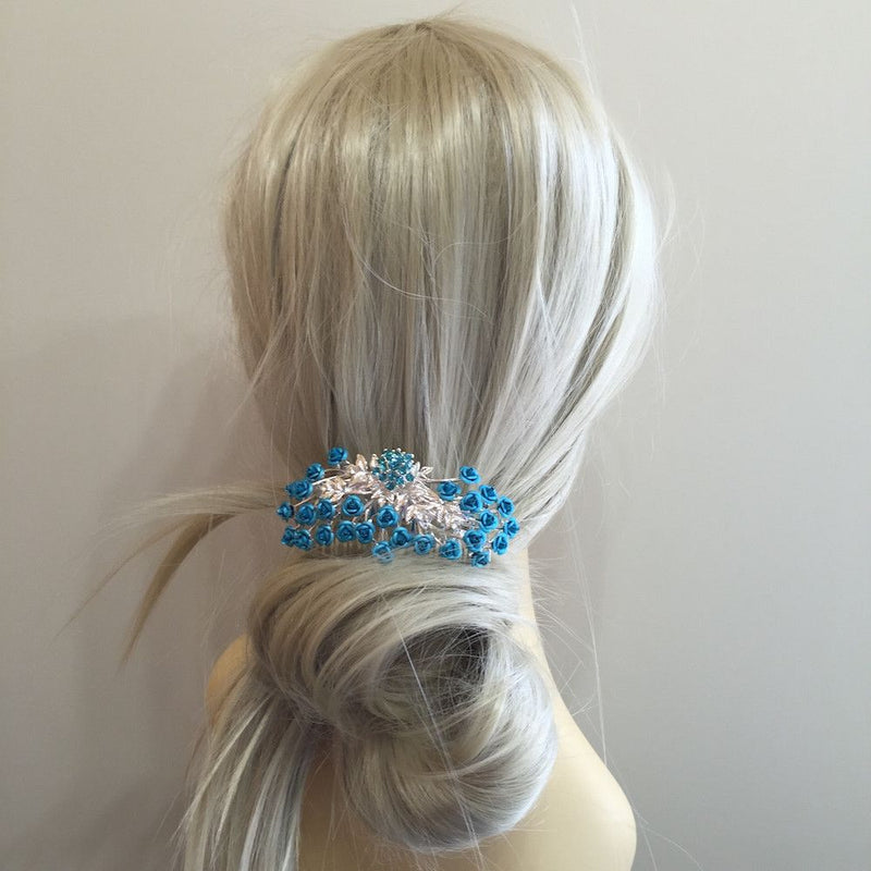 Rose Garden Hair Comb - Turquoise-Hair Accessories Bride Boutique