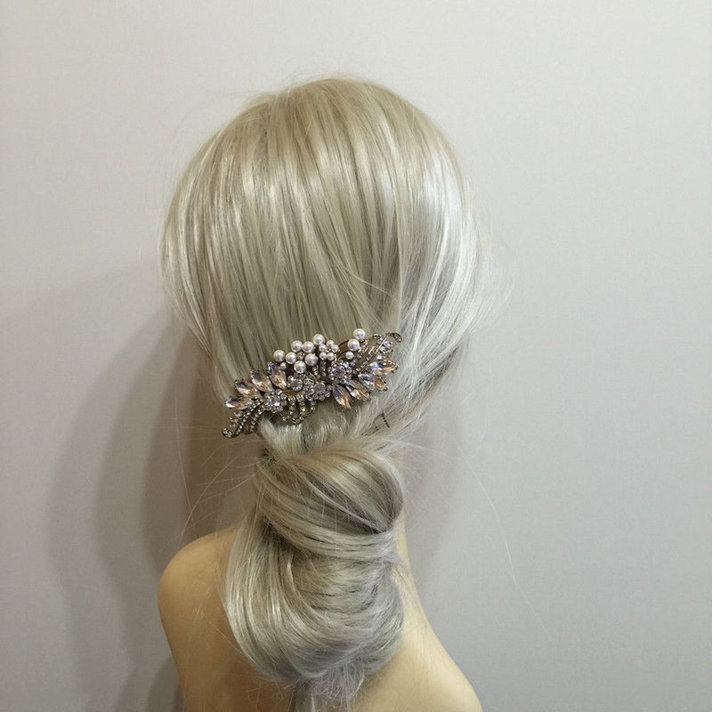 Crystal Decadence Bridal Hair Comb - Gold-Hair Accessories Bride Boutique