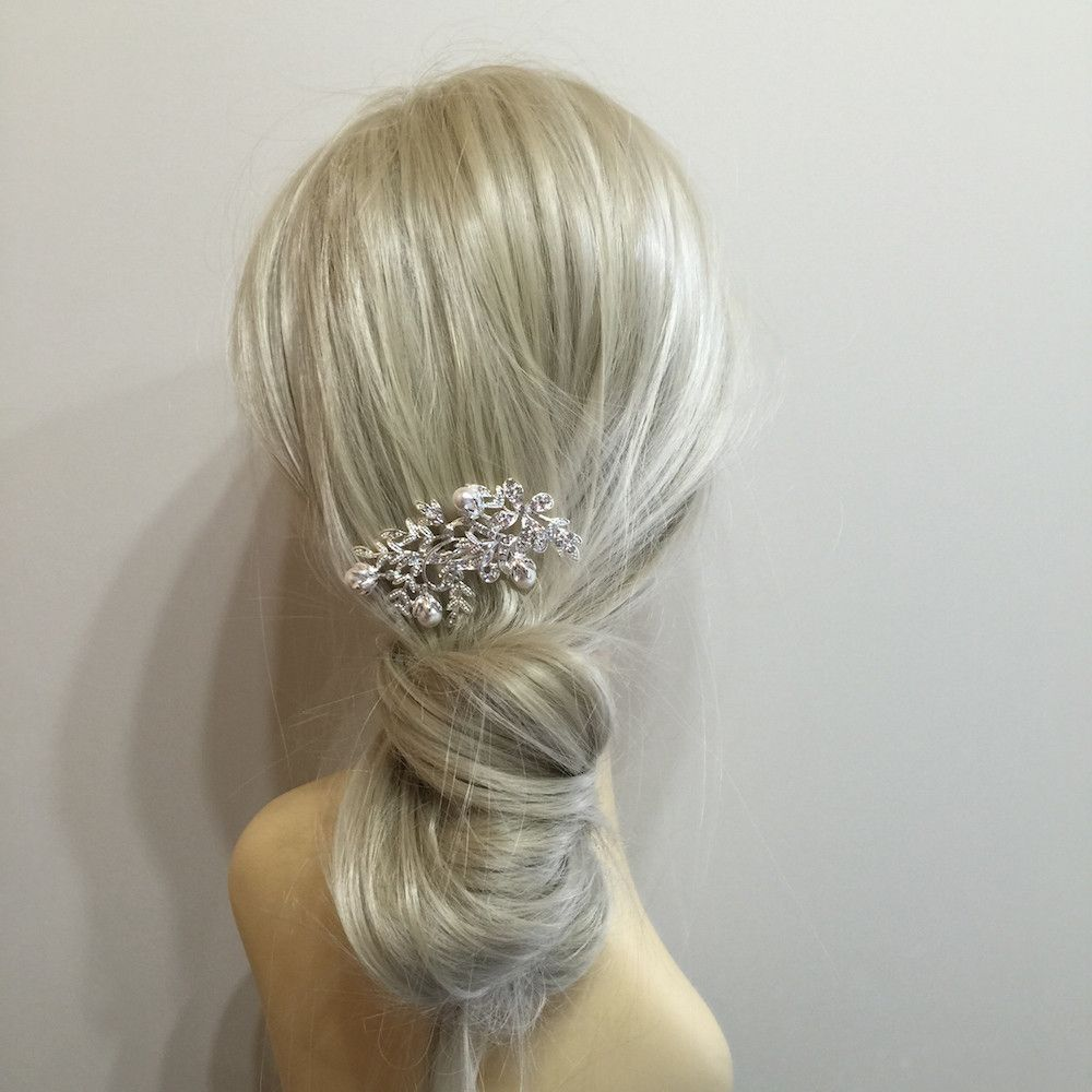 pearl blooms diamante hair comb | silver bridal hair accessories