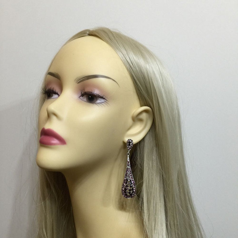 Crystal Teardrop Wedding Earrings - Purple & Amethyst-Earrings-Bride Boutique