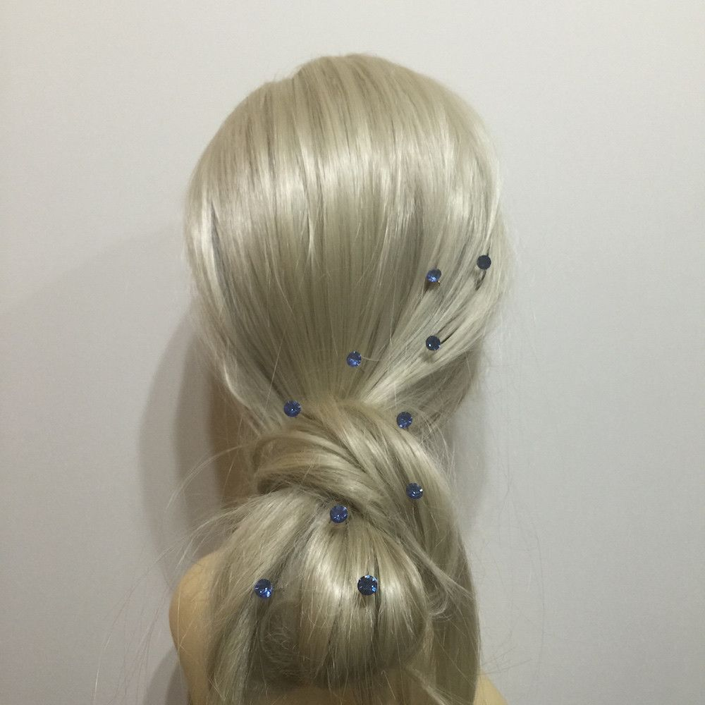 Crystal Wedding Hair Pins - Light Sapphire-Hair Accessories-Bride Boutique
