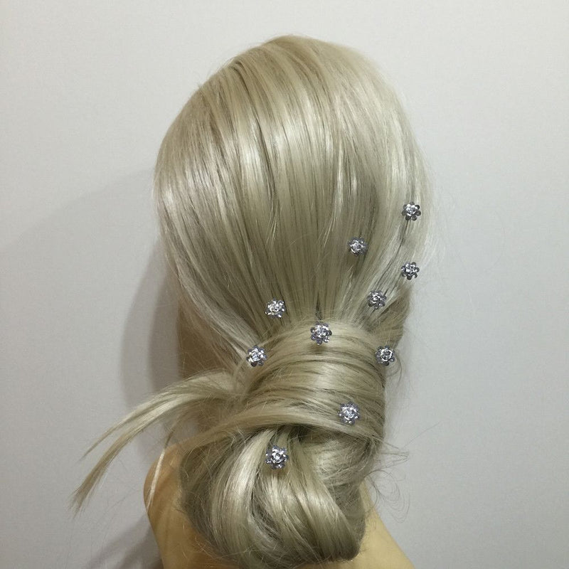 Rose Hair Pins - Silver-Hair Accessories Bride Boutique