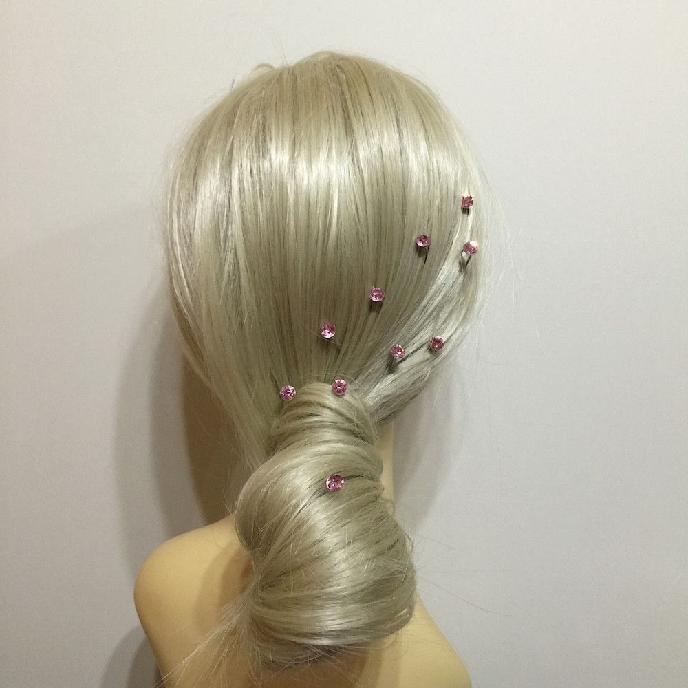 Crystal Wedding Hair Pins - Baby Pink-Hair Accessories-Bride Boutique