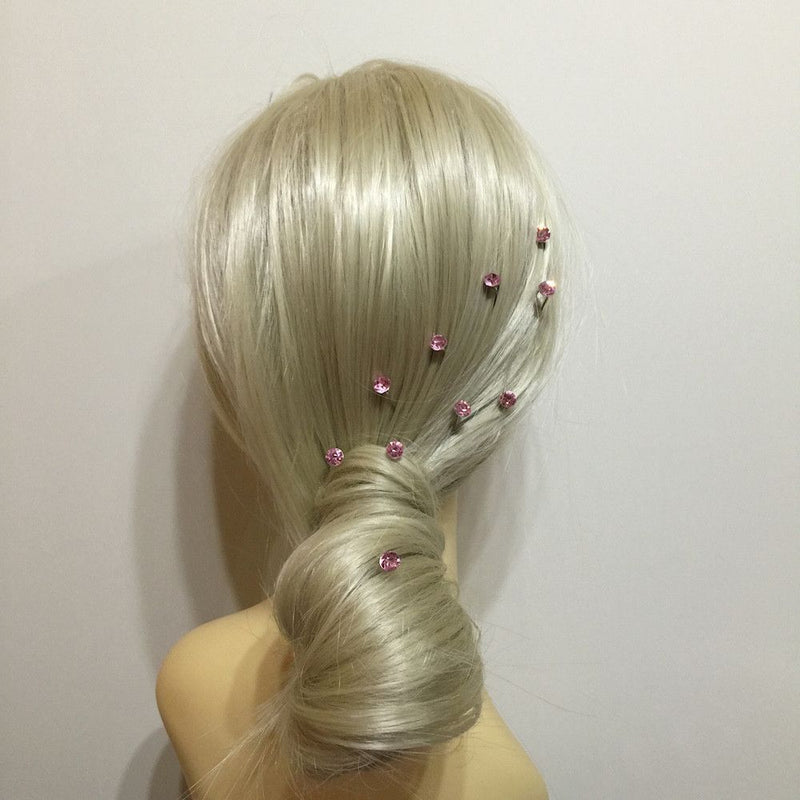 Crystal Wedding Hair Pins - Baby Pink-Hair Accessories Bride Boutique