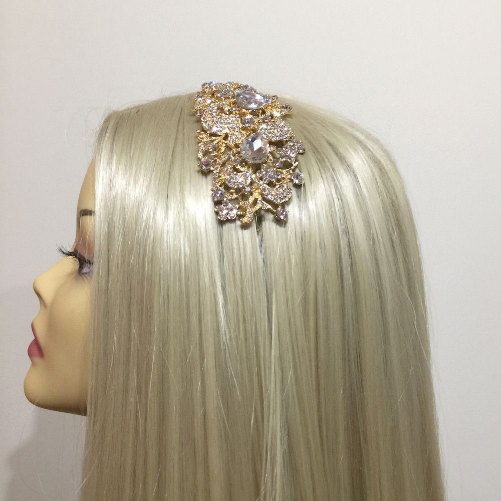 Vintage Charm Wedding Headband - Gold-Hair Accessories-Bride Boutique