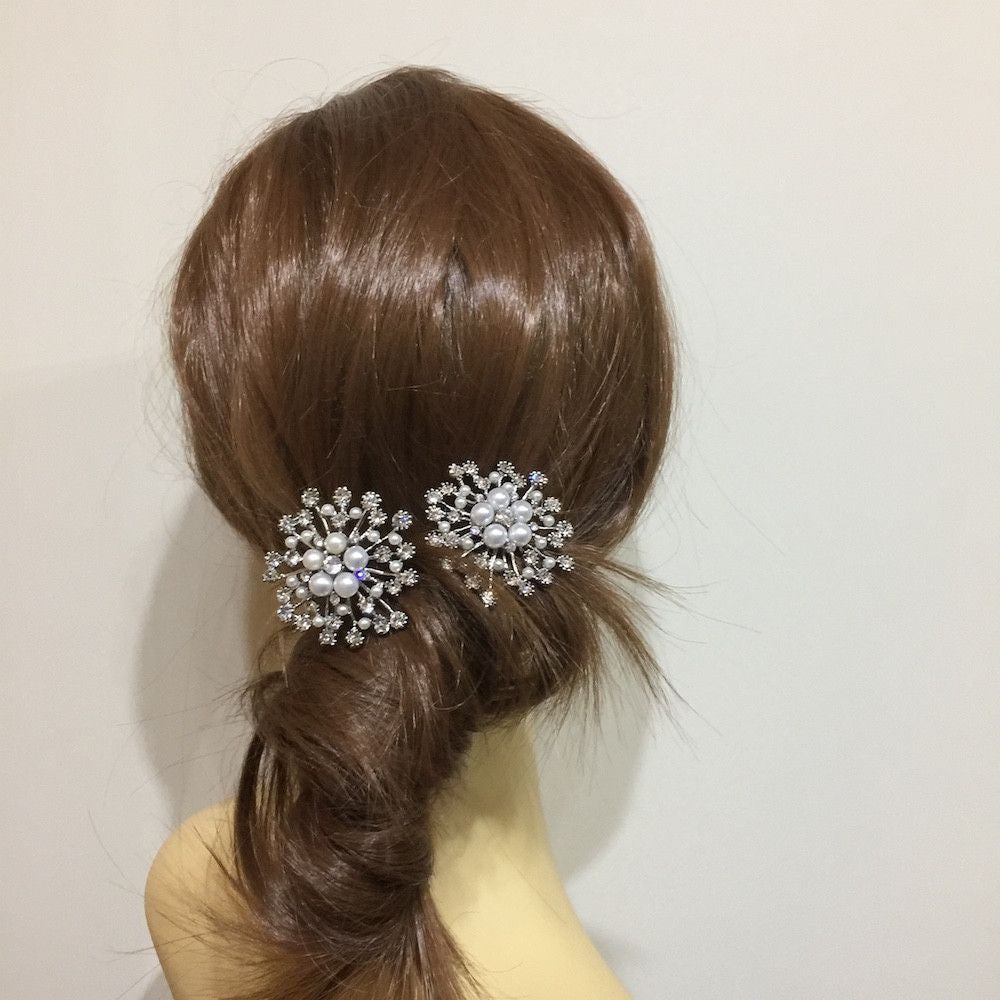 Large Snowflake Hair Pins-Hair Accessories-Bride Boutique