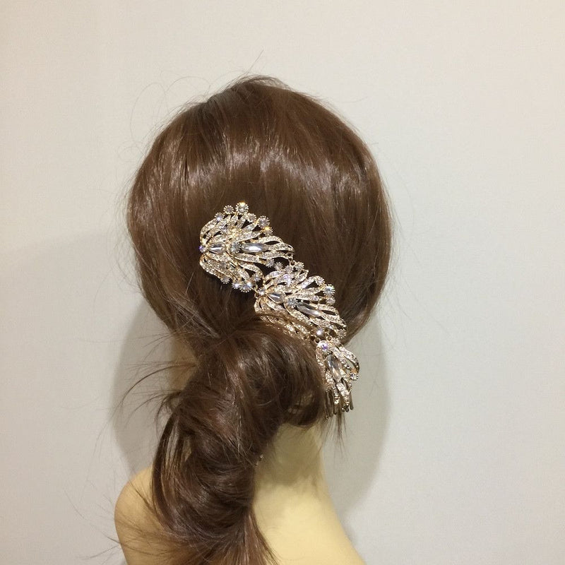 Angelic Cascade Bridal Hair Vine - Gold-Hair Accessories-Bride Boutique