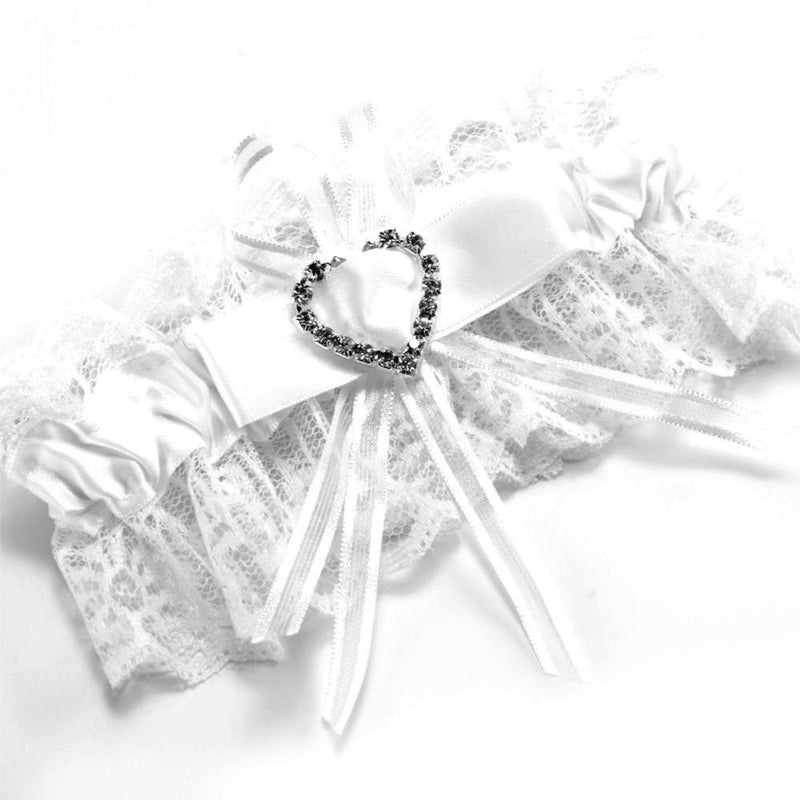 Basic Satin & Lace Bridal Garter - White-Bridal Garters-Bride Boutique
