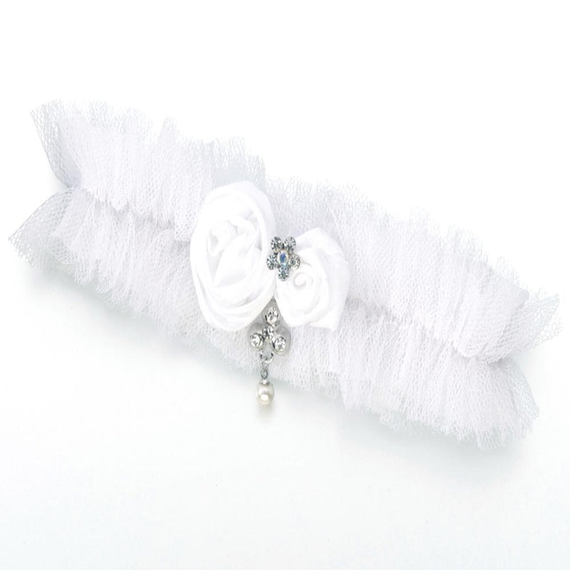 White Tulle Wedding Garter with Dangly Pearl Decoration-Bridal Garters-Bride Boutique