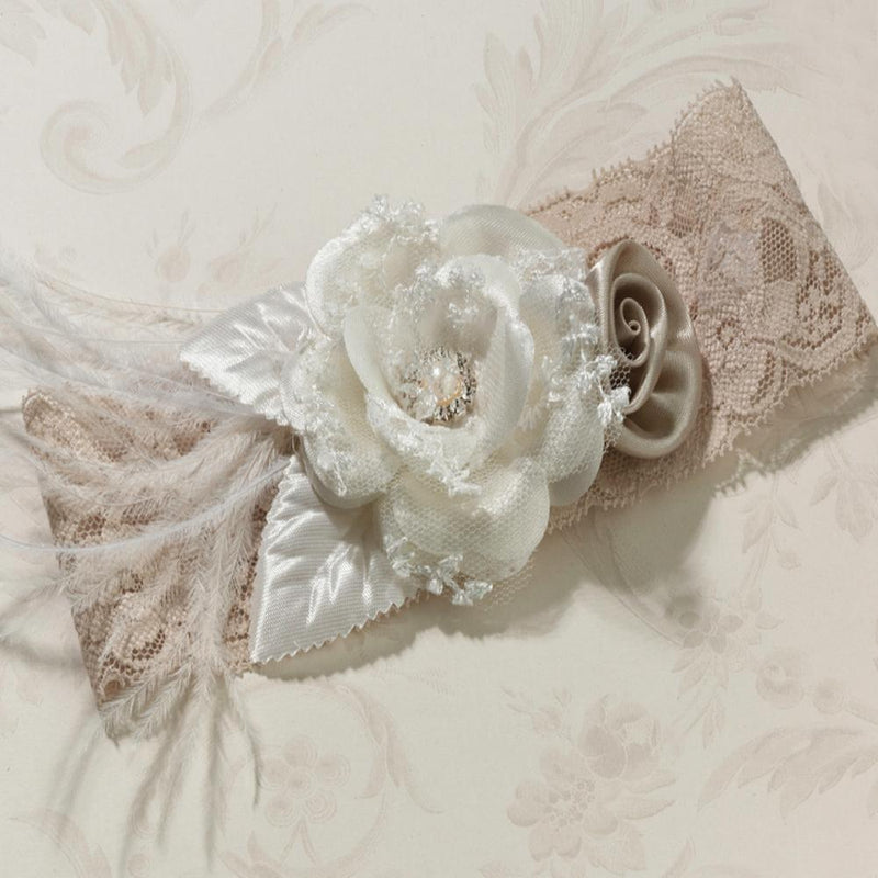 Taupe Vintage Lace Wedding Garter with Flower-Bridal Garters-Bride Boutique