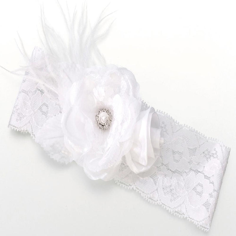 White Vintage Lace Wedding Garter with Flower-Bridal Garters Bride Boutique