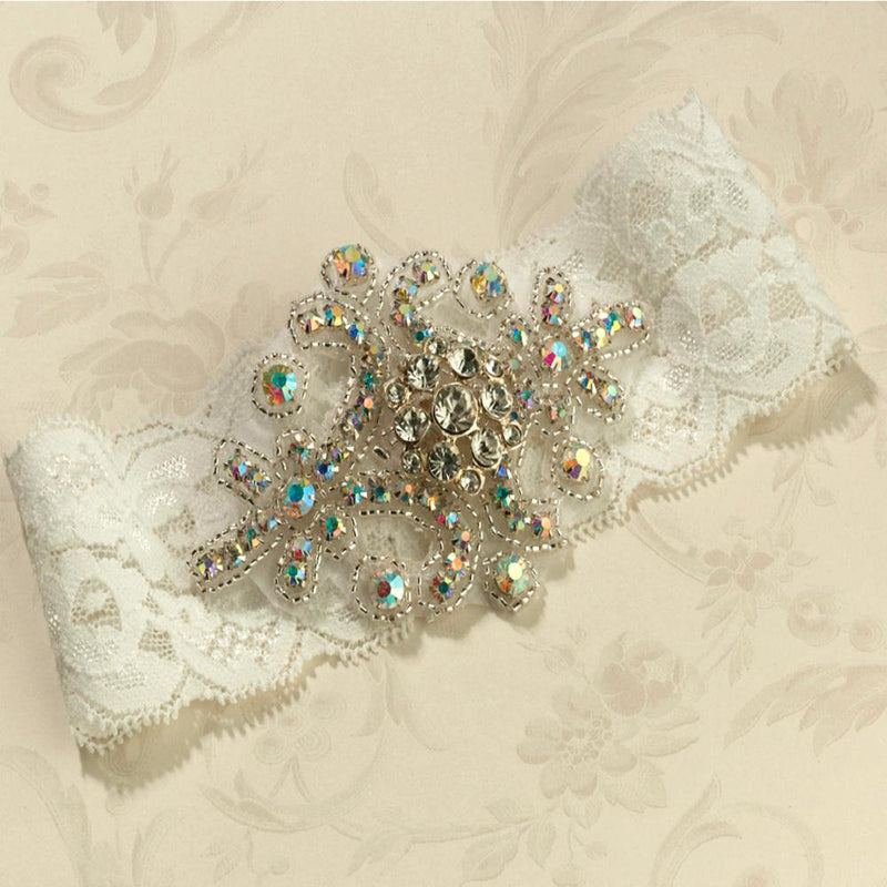 Jewelled Wedding Garter in Ivory Lace-Bridal Garters-Bride Boutique