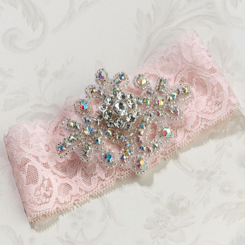 Jewelled Wedding Garter in Blush Pink Lace-Bridal Garters-Bride Boutique