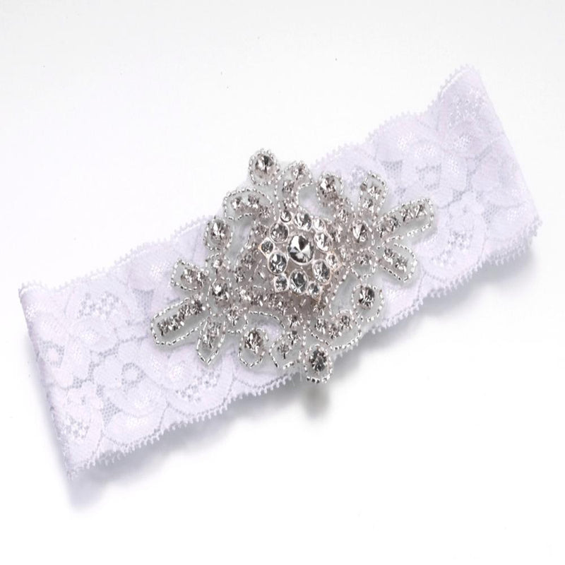 Jewelled Wedding Garter in White Lace-Bridal Garters-Bride Boutique