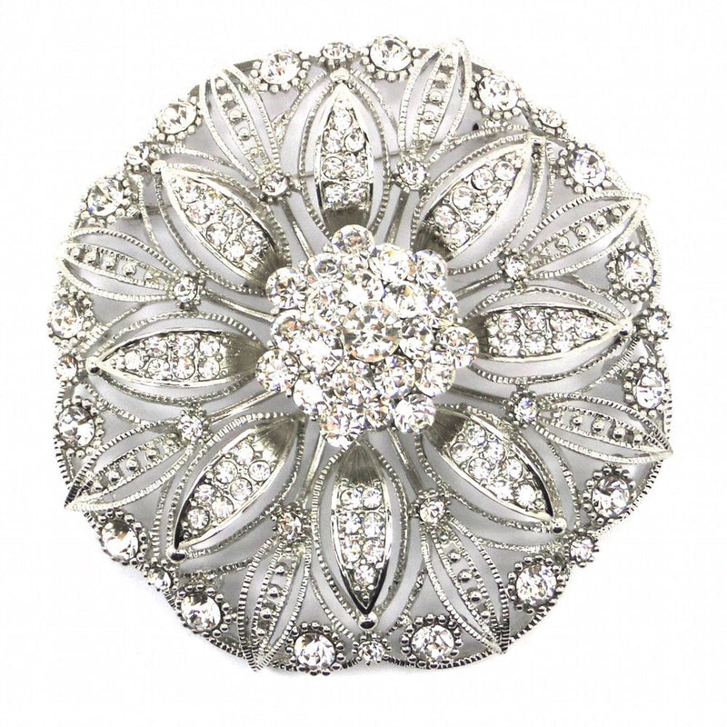 Large Crystal Flower Brooch - Design 2-Brooches-Bride Boutique