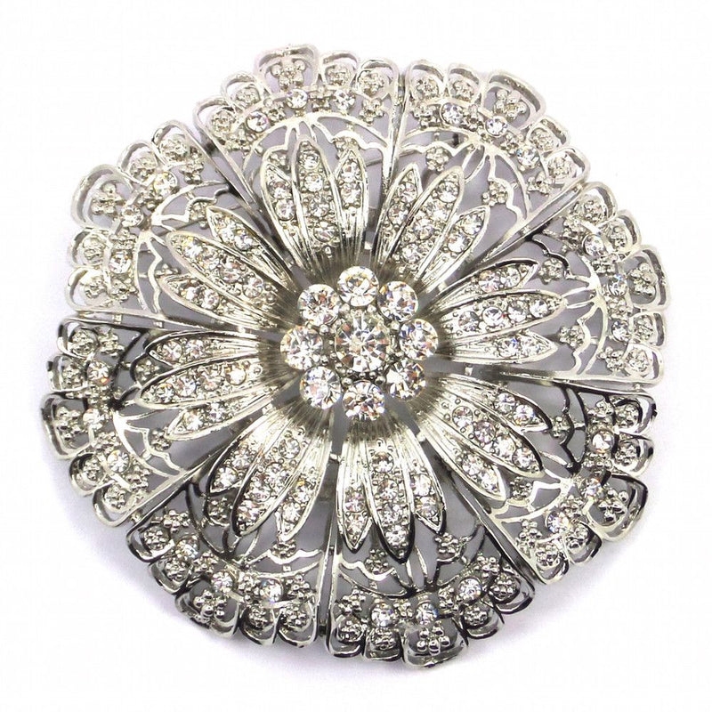 Large Crystal Flower Brooch - Design 4-Brooches-Bride Boutique