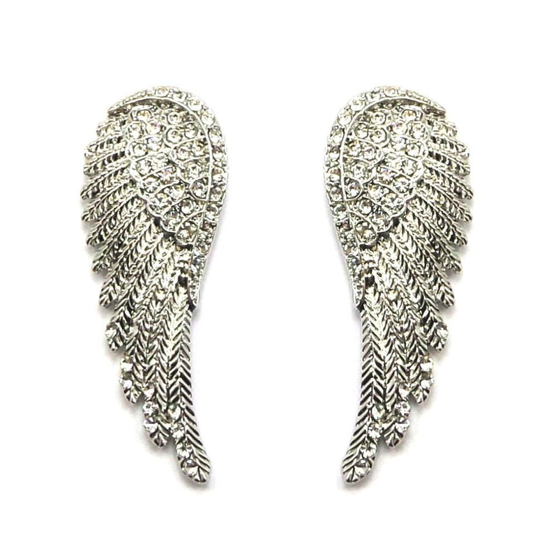 Vintage Silver Angel Wing Earrings-Earrings Bride Boutique
