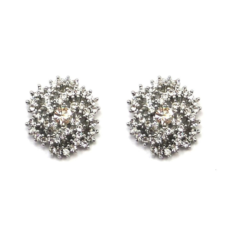 Crystal Swirl Stud Earrings-Earrings Bride Boutique