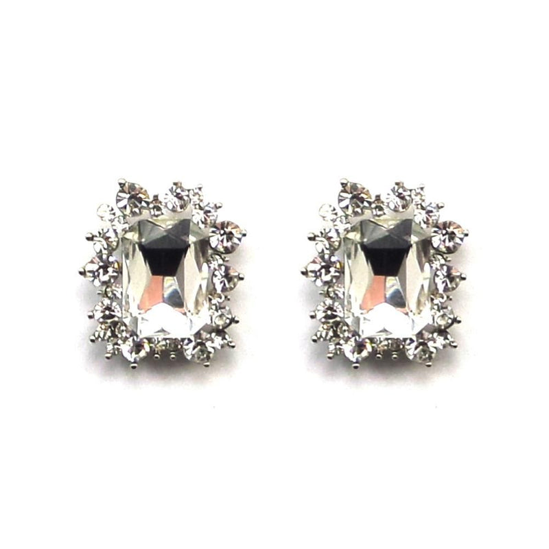 Silver Crystal Starlet Stud Earrings-Earrings Bride Boutique
