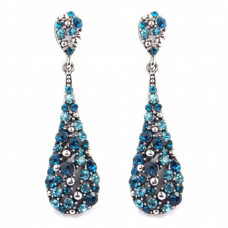 Crystal Teardrop Earrings - Teal & Turquoise-Earrings Bride Boutique