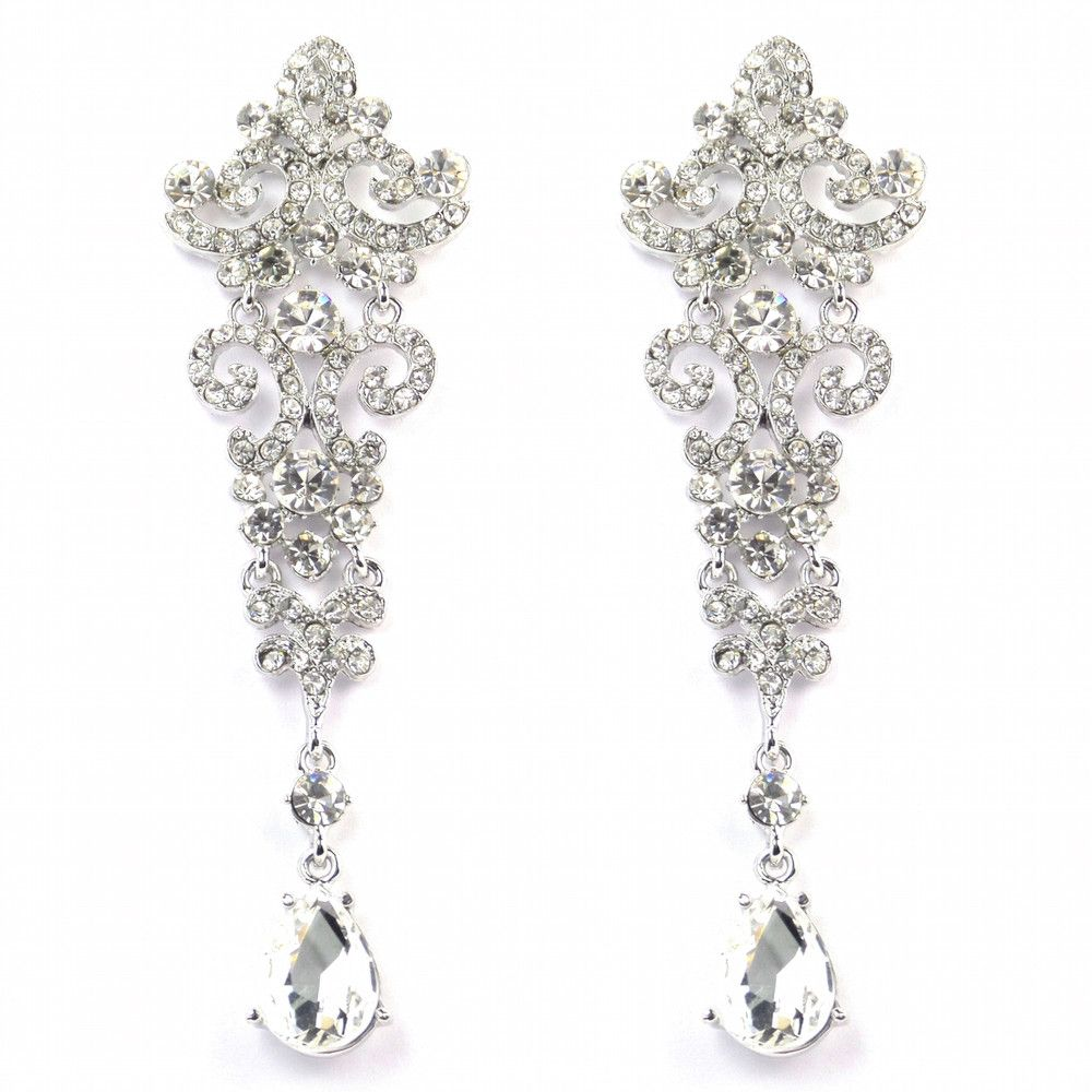 Crystal Chandelier Vintage Wedding Earrings Bride Boutique