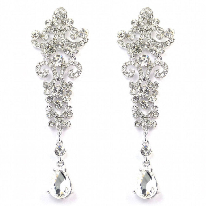 Crystal Chandelier Vintage Wedding Earrings-Earrings-Bride Boutique