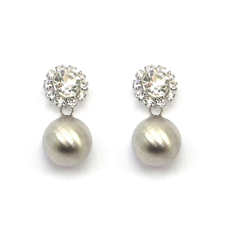 Silver Pearl Stud Earrings-Earrings Bride Boutique