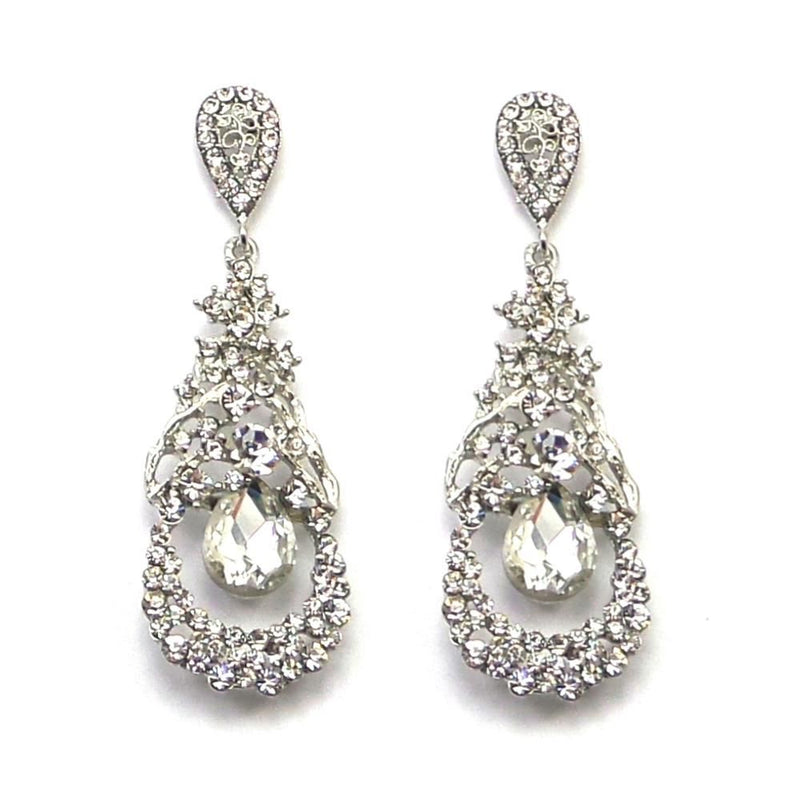 Bejewelled Crystal Earrings-Earrings Bride Boutique