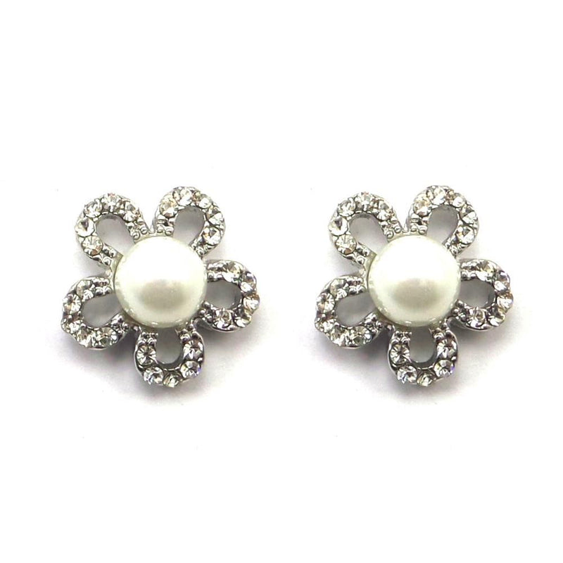 Pearl Flower Stud Earrings-Earrings Bride Boutique