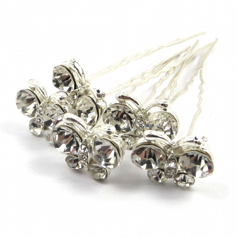 Crystal Butterfly Hair Pins-Hair Accessories-Bride Boutique
