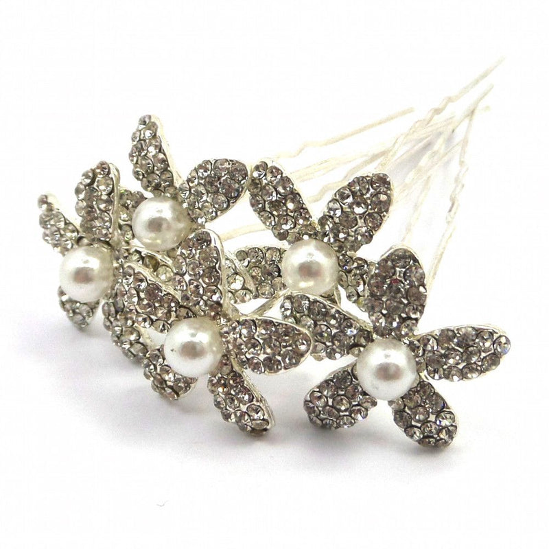 Crystal Lily Hair Pins-Hair Accessories-Bride Boutique