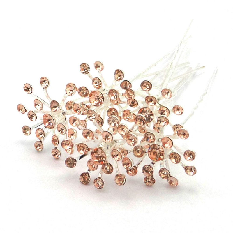 Crystal Starburst Hair Pins - Champagne-Hair Accessories-Bride Boutique