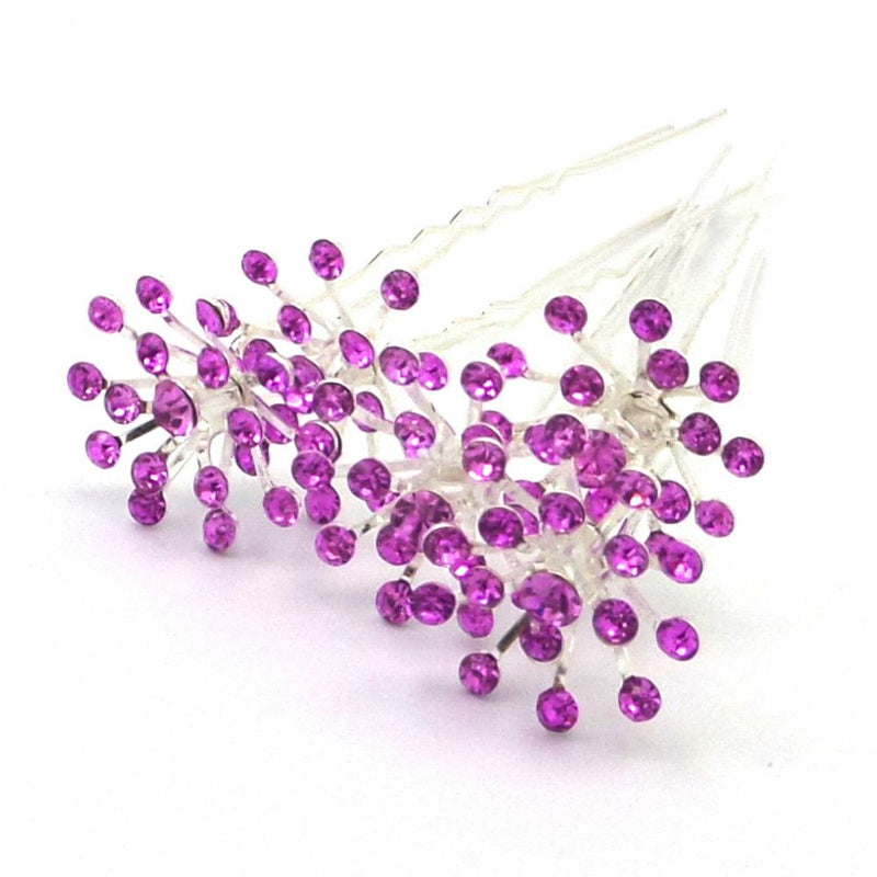 Crystal Starburst Hair Pins - Lilac-Hair Accessories-Bride Boutique