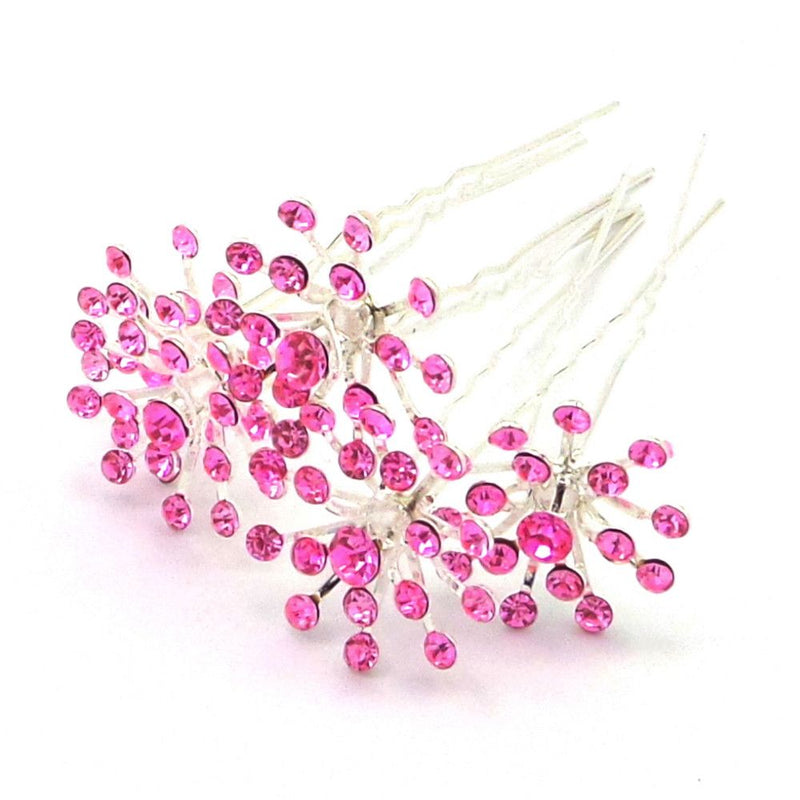 Crystal Starburst Hair Pins - Pink-Hair Accessories-Bride Boutique