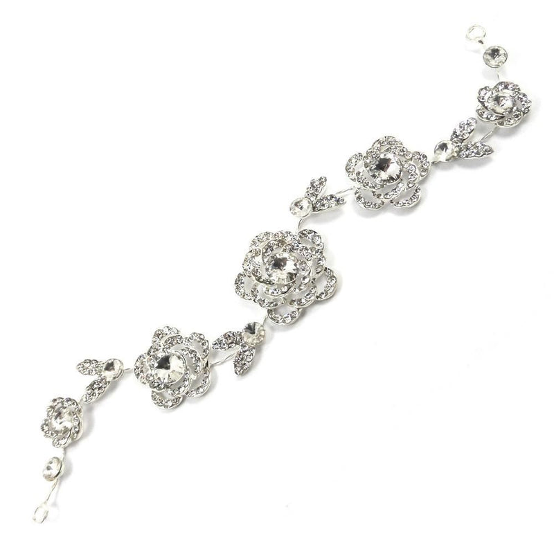 Silver Rose Crystal Hair Vine-Hair Accessories Bride Boutique