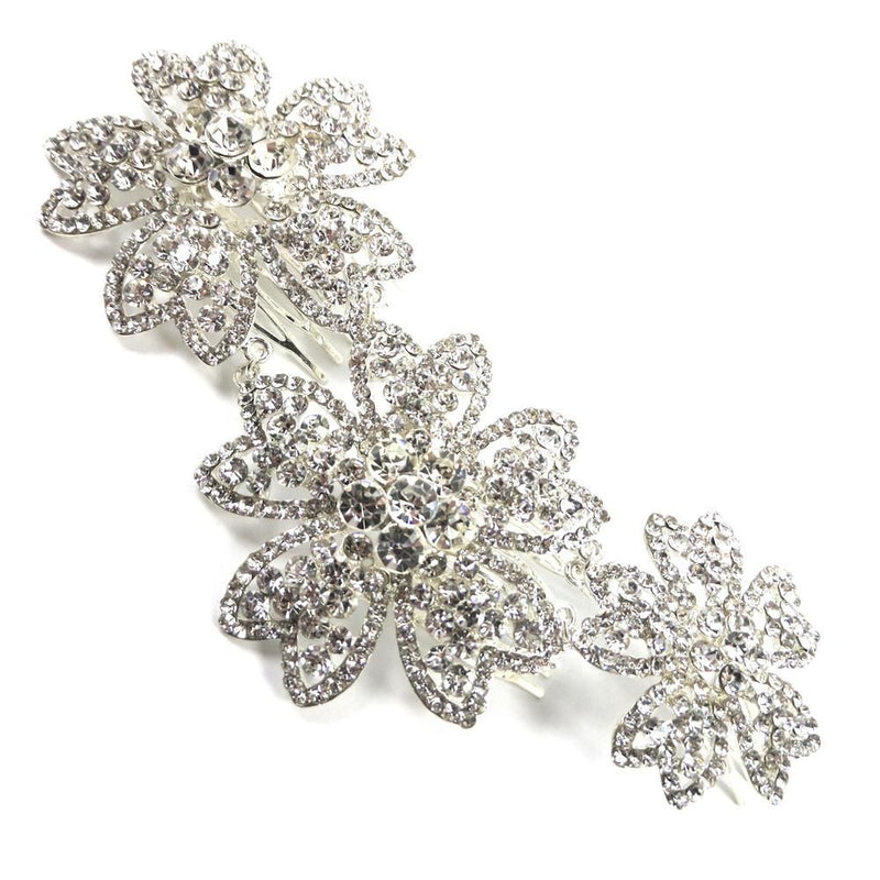 Sparkling Flowers Hair Comb-Hair Accessories-Bride Boutique