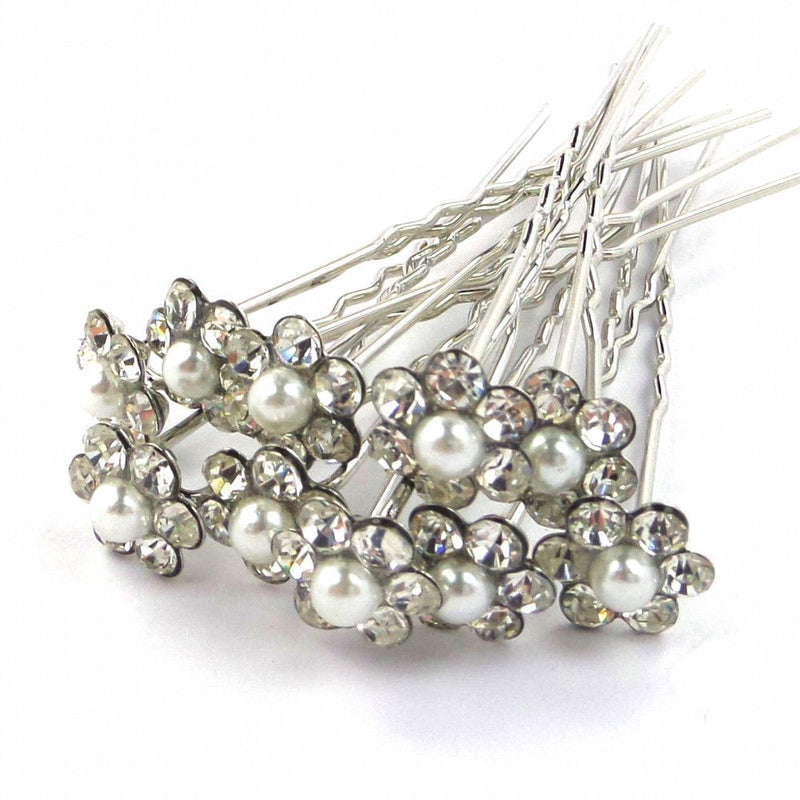 Daisy Delight Pearl Hair Pins-Hair Accessories-Bride Boutique