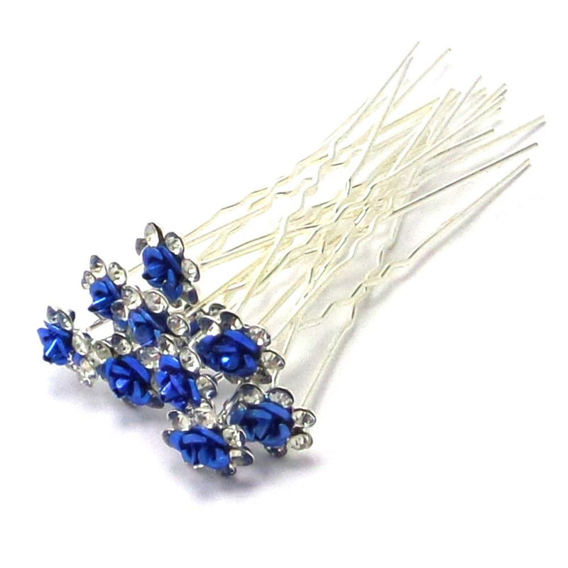Rose Hair Pins - Blue-Hair Accessories Bride Boutique