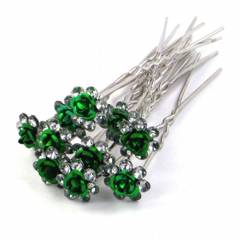 Rose Hair Pins - Green-Hair Accessories-Bride Boutique