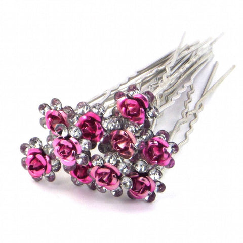 Rose Hair Pins - Red